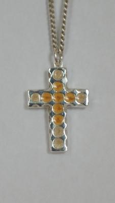 Zilveren kruishanger ingekleurd goud