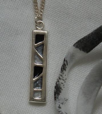 Zilveren hanger Zwart-Grijs-Parel
